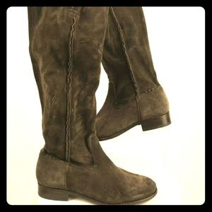 New Frye Cara Suede Boots Army Green